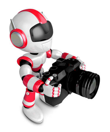 Red robot character to shoot the camera toward the Right. Create 3D Humanoid Robot Series.