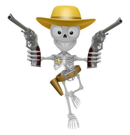 3D Skeleton Mascot is cowboys holding a revolver gun with both hands. 3D Skull Character Design Series.