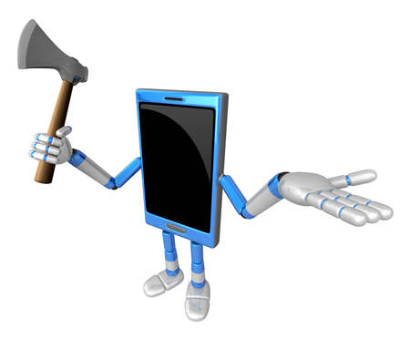 cellularphone: 3D Smart Phone Mascot is holding an axe. 3D Mobile Phone Character Design Series.