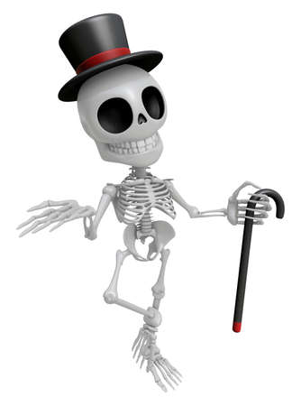 3D Gentleman Skeleton Mascot is a stick dance Brandishing. 3D Skull Character Design Series.
