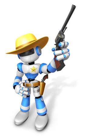 gunman: 3D Blue Sheriff robot is holding a revolver gun pose. Create 3D Humanoid Robot Series.