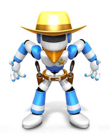 ロボット保安官を取っている 3 D のブルーは、銃撃戦をもたらします。3 D ロボット シリーズを作成します。 写真素材