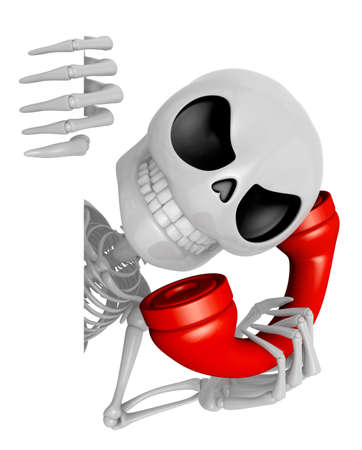 3D Skeleton Mascot hand is holding a board and telephone. 3D Skull Character Design Series.