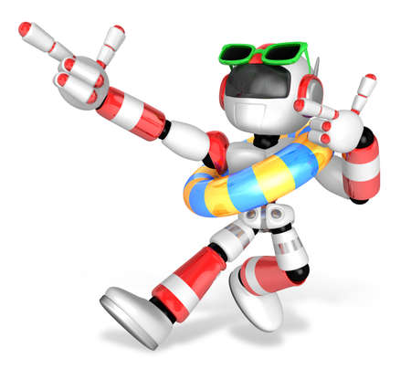 3d red robot set out on a summer vacation. Create 3D Humanoid Robot Series. Stock Photo