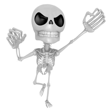 mortal: 3D Skeleton Mascot is the strike with ones fist. 3D Skull Character Design Series.