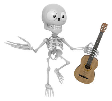 3D Skeleton Mascot is holding acoustic guitar. 3D Skull Character Design Series. Stock Photo