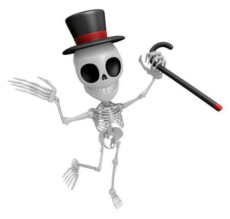 3D Gentleman Skeleton Mascot is a stick dance Brandishing. 3D Skull Character Design Series.
