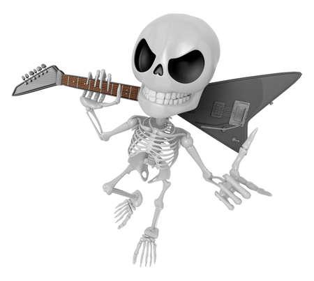 3D Skeleton Mascot is slung the guitar over his shoulders. 3D Skull Character Design Series.