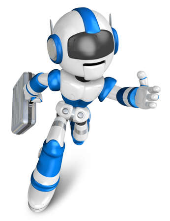 teamwork cartoon: Blue robot character holding a briefcase is going to front Running. Create 3D Humanoid Robot Series.