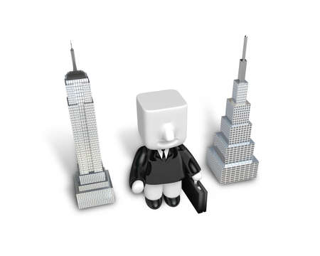 general manager: 3d Businessman standing next to skyscrapers. Working at a laptop. 3D Square Man Series. Stock Photo