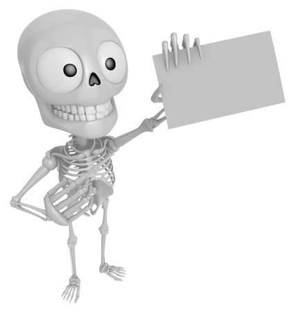 3D Skeleton Mascot is holding a business card. 3D Skull Character Design Series.