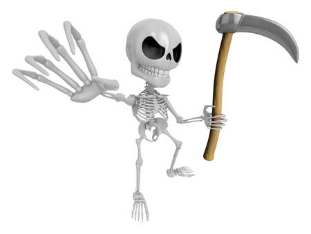 3D Reaper Skeleton Mascot a very sharp scythe brandishing. 3D Skull Character Design Series.
