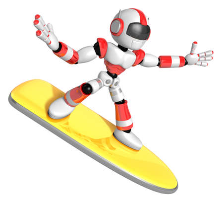 3D Red robot is riding a surf board to the Right. Create 3D Humanoid Robot Series.