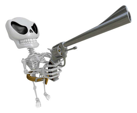 3D Skeleton Mascot cowboys is holding a revolver gun pose. 3D Skull Character Design Series. Stock Photo