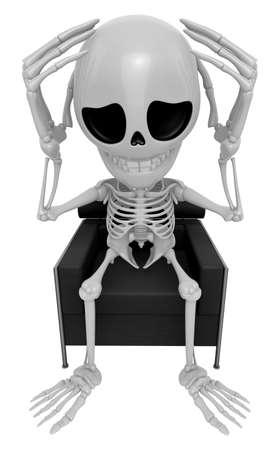 3D Esqueleto Mascota Ese problema es un dolor de cabeza. Serie del diseño de carácter del cráneo 3D. Foto de archivo
