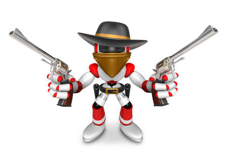 brit: The 3D Red Robot villain holding a revolver gun with both hands. Create 3D Humanoid Robot Series.