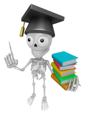 3D Skeleton Mascot is holding a pile of books. 3D Skull Character Design Series. Stock Photo