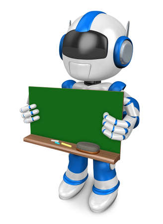 Blue robot Character is holding a blackboard with both hands. Create 3D Humanoid Robot Series.