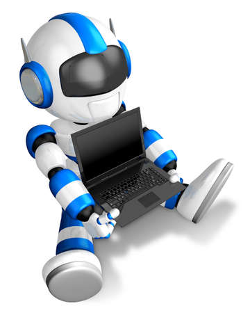 Blue Robot Character sitting on holding a laptop. Create 3D Humanoid Robot Series.