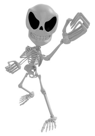 3D Skeleton Mascot is guarding gestures. 3D Skull Character Design Series.