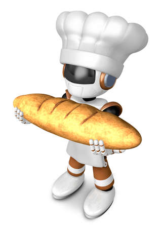 Brown chef robot character holding large baguettes matches. Create 3D Humanoid Robot Series. Stock Photo