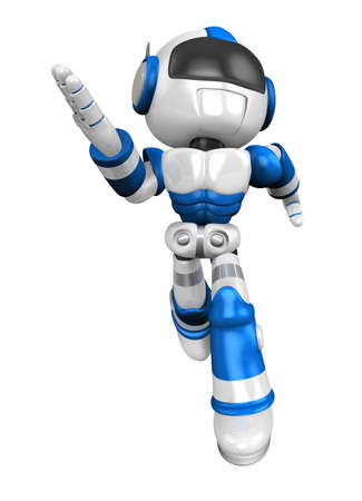 to compromise: Blue robot character is going to front Running. Create 3D Humanoid Robot Series. Stock Photo
