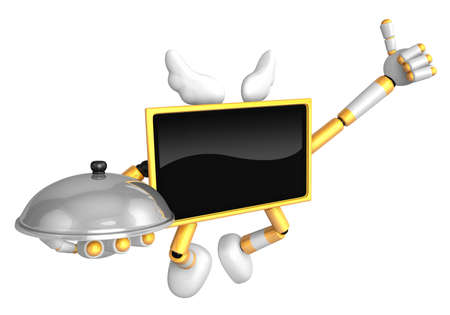 Chef Yellow TV Mascot the right hand best gesture and the right hand is holding a pot. Create 3D Television Robot Series.