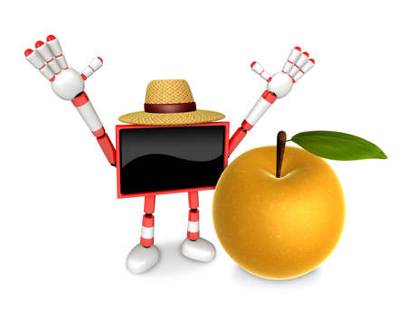 Red TV character are surprised to see the big Pear.  Create 3D Camera Robot Series.