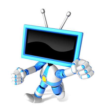 A Blue TV Character and a boxing play. Create 3D Television Robot Series.