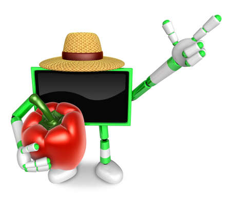 Green TV farmer mascot the right hand guides and the left hand is holding a sweet pepper. Create 3D Television Robot Series.