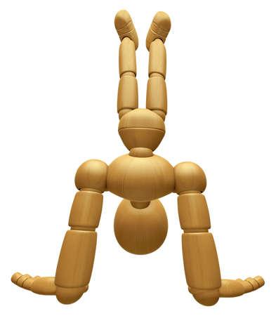 marioneta de madera: 3D Mascota de madera de la mascota de pie al revés, en un disparo de ángulo alto. La bola de madera 3D articuló la serie del diseño del carácter de la muñeca.