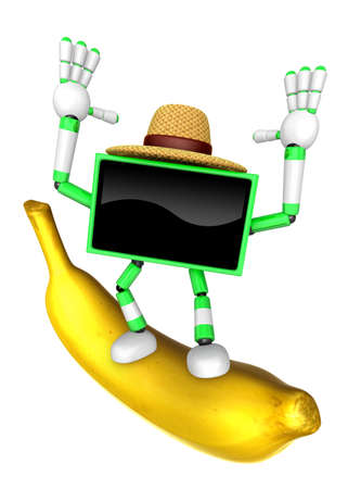 TV character standing on a big banana. Create 3D Television Robot Series.