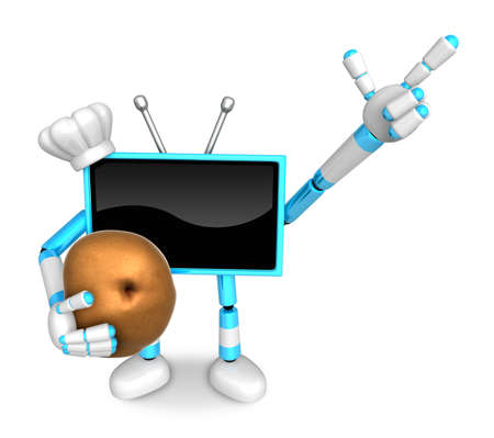 Sky Blue TV Chef mascot the right hand guides and the left hand is holding a potato. Create 3D Television Robot Series.