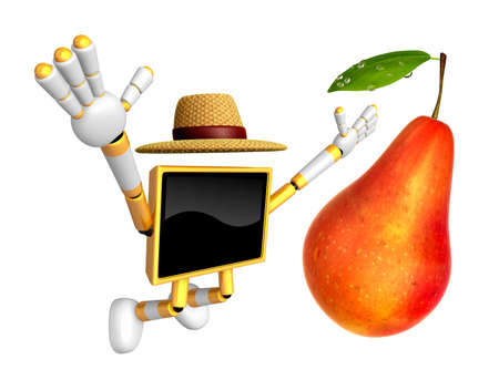 Yellow TV character are surprised to see the big Pear.  Create 3D Camera Robot Series.