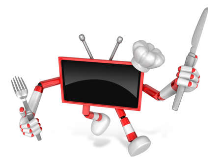 Red TV Character Chef in both hands to hold a fork and Knife. Go on foot walking. Create 3D Television Robot Series. Stock Photo