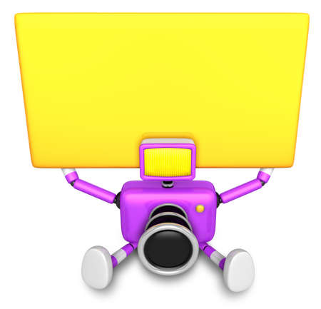 Purple Camera Character up yellow board a thing with both hands. Create 3D Camera Robot Series.