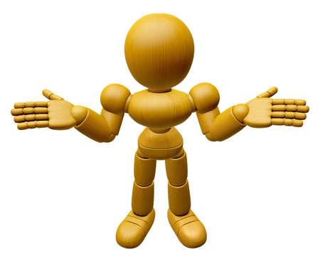 marioneta de madera: Mascota de la muñeca de madera 3D está haciendo para no saber gestos. Muñeca de madera 3D Serie de diseño de personajes de muñecas articuladas. Foto de archivo