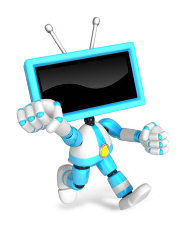 A Cyan TV Character and a boxing play. Create 3D Television Robot Series. Stock Photo