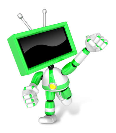 A Green TV Character and a boxing play. Create 3D Television Robot Series.