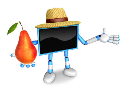 Blue TV farmer mascot the right hand guides and the left hand is holding a Pear. Create 3D Television Robot Series.
