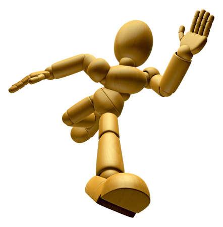marioneta de madera: La mascota de la muñeca de madera 3D funciona a toda velocidad. Muñeca de madera 3D Serie de diseño de personajes de muñeca articulada.