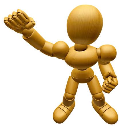 marioneta de madera: Mascota de muñeca de madera 3D está luchando gestos. La bola de madera 3D articuló la serie del diseño del carácter de la muñeca.