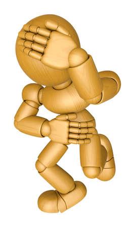 marioneta de madera: Mascota de muñeca de madera 3D Todas mis articulaciones dolor. La bola de madera 3D articuló la serie del diseño del carácter de la muñeca. Foto de archivo