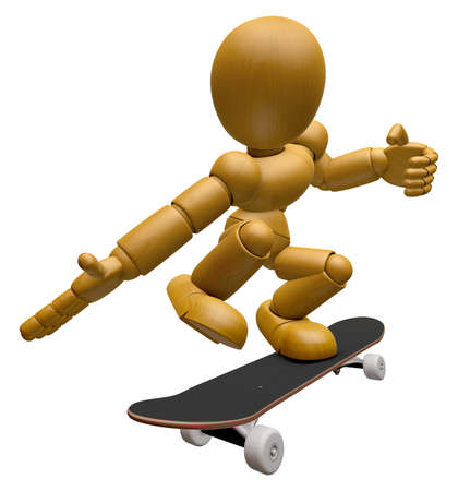 3D Wood Doll Mascot to play skateboard. 3D Wooden Ball Jointed Doll Character Design Series.
