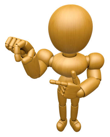 3D Wood Doll Mascot the pick up a gesture. 3D Wooden Ball Jointed Doll Character Design Series. Stock Photo