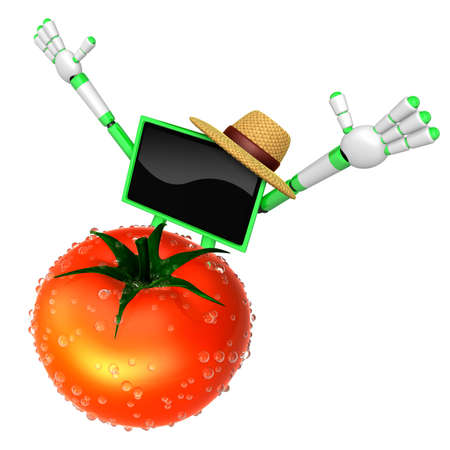 Green TV character are surprised to see the big tomato.  Create 3D Camera Robot Series.
