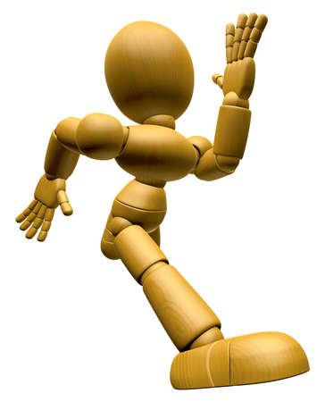 marioneta de madera: 3D Mascota de madera de la muñeca en funcionamiento. La bola de madera 3D articuló la serie del diseño del carácter de la muñeca.