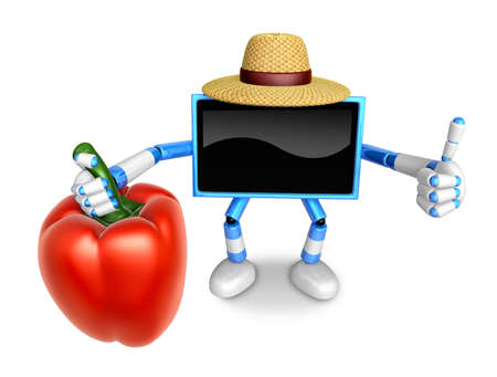 Blue TV farmer Character right hand sweet-pepper. The best gesture of the right hand is taking. Create 3D Television Robot Series.