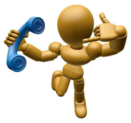 もっと時間があるときに 3 D の木人形マスコットがちょうど私を呼び出します。3 D 木製ボール関節人形キャラクターのデザインのシリーズです。
