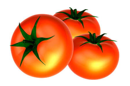 Three Fresh Red tomatos. Foods and Dishes Series.